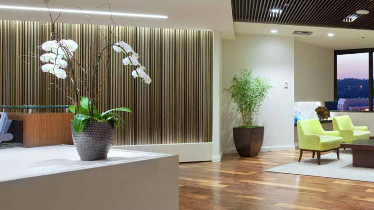 Symetra Center - Reception Desk - Office Building - Sterling Realty Organization-750x422